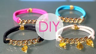 getlinkyoutube.com-DIY- GOLD BRACELETS USING HAIR ELASTICS!