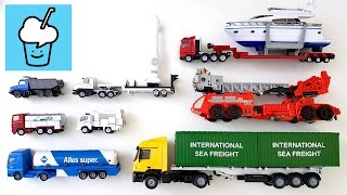 getlinkyoutube.com-Learning Trucks for kids with tomica トミカ siku transformer