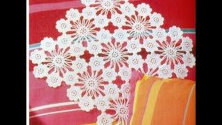 getlinkyoutube.com-Patrón Para tejer Carpeta/tapete con flores a crochet