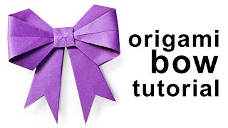 getlinkyoutube.com-Origami - How to fold a paper Bow/Ribbon