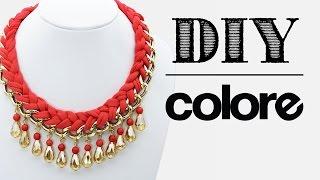 getlinkyoutube.com-DIY Collar Trenzado con Cadena y Cristal | Colore Accesorios