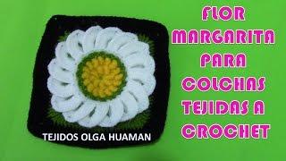 getlinkyoutube.com-Cuadro a crochet de Flores Margaritas para colchas y cojines