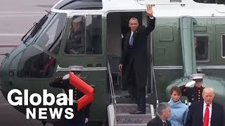 getlinkyoutube.com-Barack and Michelle Obama wave goodbye to Washington