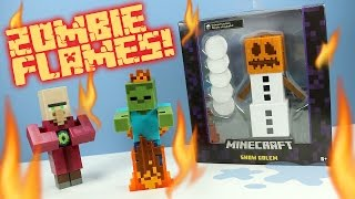 getlinkyoutube.com-Minecraft Survival Mode Snow Golem Villager & Zombie in Flames Toys Mattel
