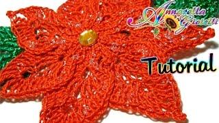getlinkyoutube.com-Tutorial stella di Natale all'uncinetto | How to crochet a poinsettia