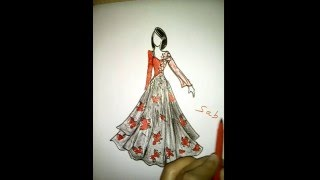 getlinkyoutube.com-How to draw a girl. beautiful dress