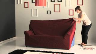 How to install a elastic sofa cover width=