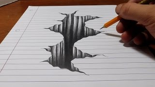 getlinkyoutube.com-Trick Art on Line Paper - Drawing 3D Hole