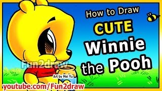 getlinkyoutube.com-How to Draw Disney Cartoons - Winnie the Pooh - Pooh Bear Fun2draw Art Lessons