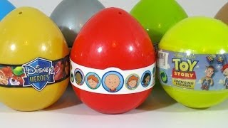 7 Surprise Eggs Disney-Pixar Toy Story, Caillou and Disney Heroes