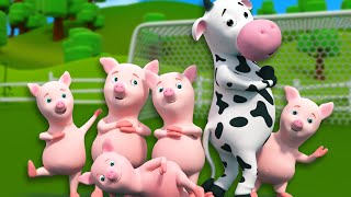 getlinkyoutube.com-Five Little Piggies | 3D Nursery Rhymes For Kids And Childrens | Songs For Baby