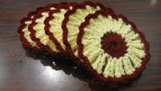 getlinkyoutube.com-Flower Coaster Crochet Tutorial