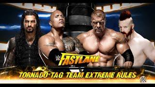 WWE 2k16 - The Rock & Roman Reigns vs.Triple H & Sheamus Tornado Tag Team Extreme Rules 2015 (PS4)