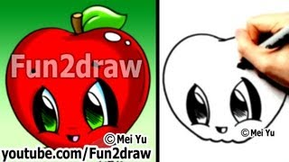 How to draw Easy - Kawaii Drawings - How to Draw Food - Apple - Learn to Draw - Fun2draw