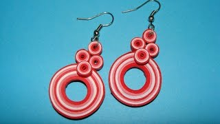 getlinkyoutube.com-Quilling earrings:How to make new design multicoloured quilling earrings