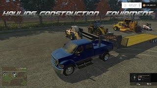 getlinkyoutube.com-Farming Simulator 2015- Hauling Construction Equipment in Hay Wire!