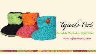 getlinkyoutube.com-Botitas tejidas en crochet para bebe de 0 a 3 meses (Parte 1: suela)