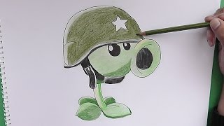 getlinkyoutube.com-Como dibujar a Lanzaguisantes soldado (Plantas vs Zombies) - How to draw a soldier Peashooter