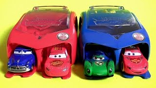 getlinkyoutube.com-Disney Cars 2 Radiator Springs Launcher Carry Case | Carnival Launcher Carla Veloso McQueen Set 2016