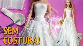 getlinkyoutube.com-Como fazer vestido de noiva sem costura para Barbie e outras bonecas!