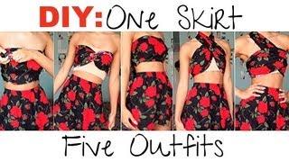 getlinkyoutube.com-DIY| Make 1 Skirt Into 5 Outfits (No Sewing!)