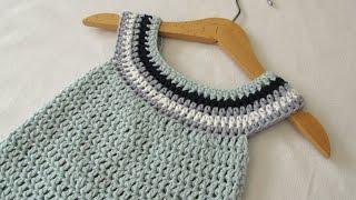 VERY EASY crochet circle neck baby dress tutorial