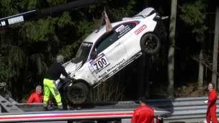 BMW M235I  VLN Crash Accident Aftermath Rollover Nordschleife Nürbrugring 29 03 2014