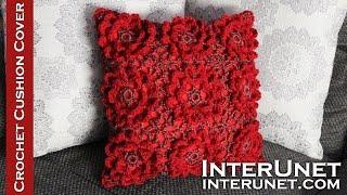 getlinkyoutube.com-Crochet cushion cover – 3d flower motifs crochet stitch