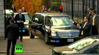 getlinkyoutube.com-Video of Obama 'Beast' Cadillac limo stuck on ramp in Ireland