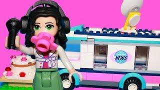 getlinkyoutube.com-Lego Friends Play-Doh Elsa MISSING CAKE Disney Princess Frozen Toy Doll News Van