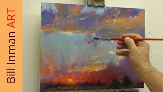 getlinkyoutube.com-Free Oil Painting Lesson - Painting a Sunset with Mountains - Muncie, Indiana