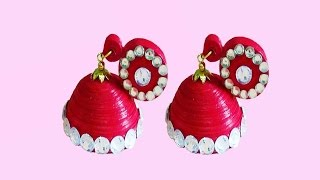 getlinkyoutube.com-quilling paper jewelry | new design -quilling paper Earrings Making Tutorial