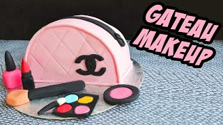 getlinkyoutube.com-Cake design - Gâteau Sac channel Maquillage - chanel bag Makeup Cake