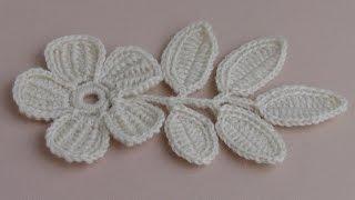 getlinkyoutube.com-Вязание ЦВЕТКА. Урок вязания.Плоский цветок с лепестками тунисского вязания.