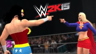 getlinkyoutube.com-WONDER WOMAN VS SUPERGIRL - EPIC BATTLE - WWE 2K15