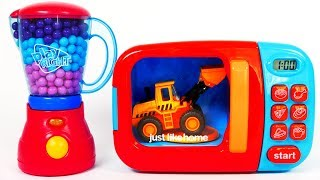 Learn Colors Microwave Construction Toy Vehicles for Kids Scraper Roller Excavator Bulldozer width=