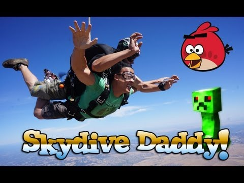SKYDIVING - DaddyTube jumps out of a plane at 13,000 feet - Human Angry Bird Skydive!