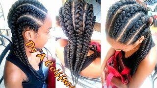 getlinkyoutube.com-Tutorial : 6 Invisible / Feed in cornrows from different angles (Straight back braids)