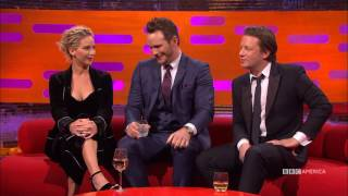getlinkyoutube.com-Jennifer Lawrence, Chris Pratt & Jamie Oliver Share High School Photos - The Graham Norton Show