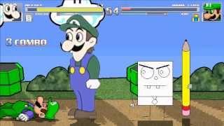 getlinkyoutube.com-Mugen: Weegee & Doodlebob vs Mama Luigi & Newbie