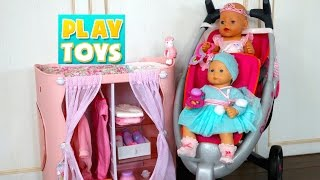 getlinkyoutube.com-Playing with cute Baby Doll playset for girls - Diaper change and doll dress with twin stroller toy