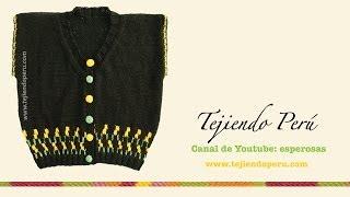 getlinkyoutube.com-Chaleco cuello en V y borde decorado para damas tejido en dos agujas