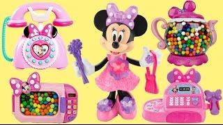 getlinkyoutube.com-Compilation MINNIE MOUSE Playset Cash Register, Tea Pot Magical Microwave M&M's Candy, Cash Register