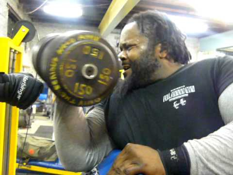 Big Cliff Holds Gym Record 150lbs Dumbbell Curl