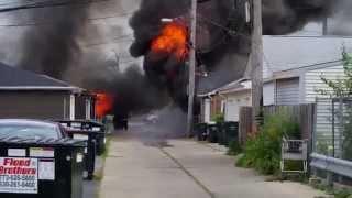 getlinkyoutube.com-4 garages on fire, July 26, 2015. Elmwood Park, IL