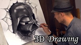 getlinkyoutube.com-Darth Vader Busts Out in Star Wars / 3D Speed Painting #drawing dibujar desenho