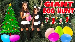 getlinkyoutube.com-GIANT SURPRISE EGG HUNT at Christmas Tree Lot - Opening Toy Surprises - What's Inside?