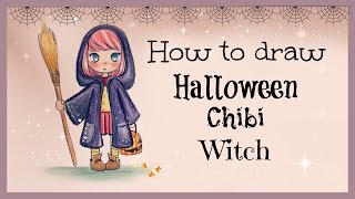 getlinkyoutube.com-Drawing Tutorial ❤ How to draw and color Halloween Chibi Witch