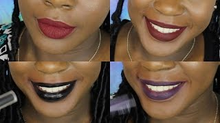 getlinkyoutube.com-Fall/Winter Matte Liquid Lipsticks Swatches for Dark Skin ft ColourPop || BeautifulEntity