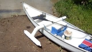 getlinkyoutube.com-The worlds Coolest $100 Catfishing Canoe with homemade outrigger Canoe stabilizer